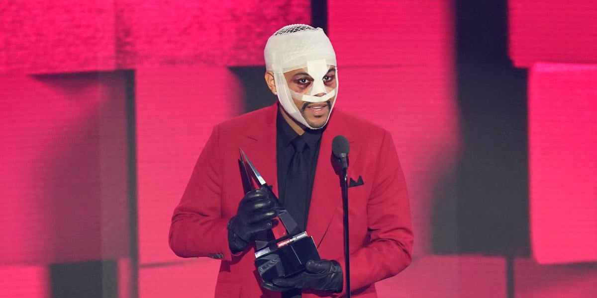 The Weeknd durante los Amercian Music Awards 2020