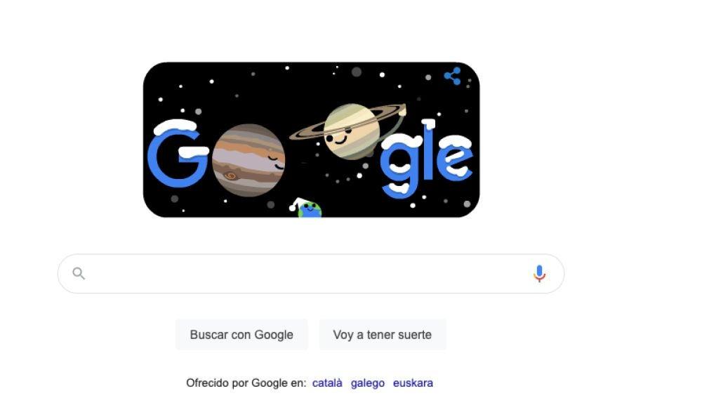 Imagen del doodle de Google con motivo del solsticio de invierno y la Gran Conjunción