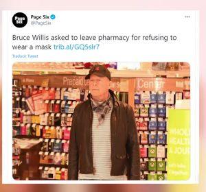 Echan a Bruce Willis de una farmacia por negarse a ponerse la mascarilla