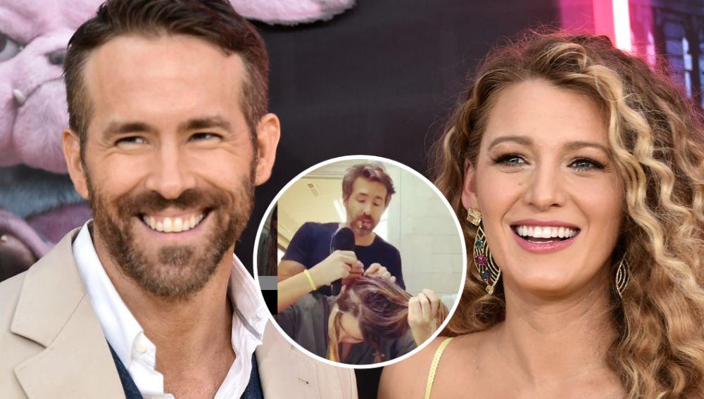 Ryan Reynolds le tiñe el pelo a Blake Lively