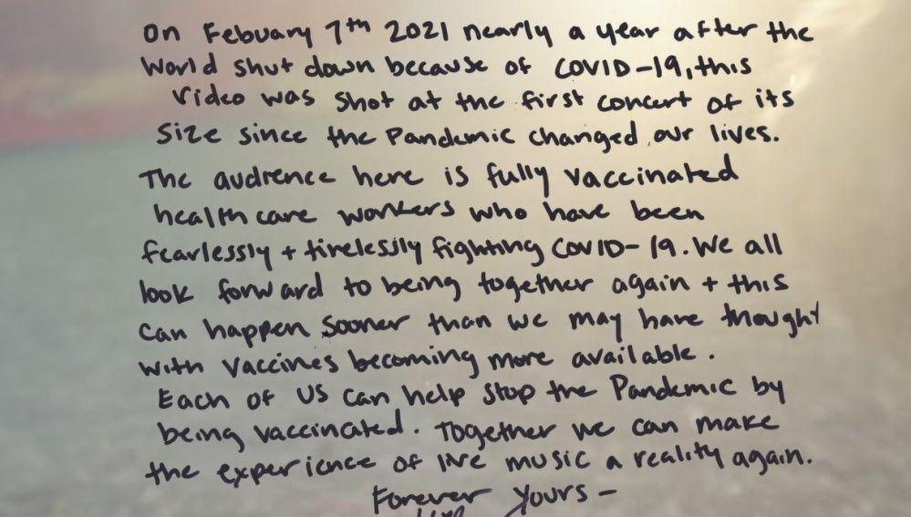 Carta de Miley Cyrus reivindicando la vacunación por coronavirus de su videoclip Angels Like Me