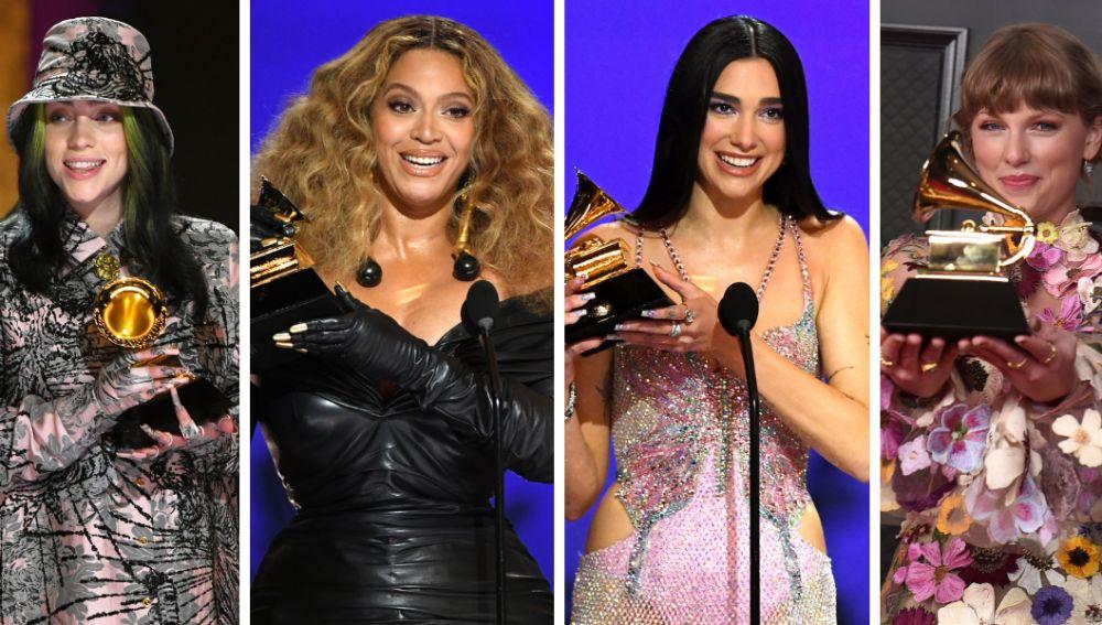 Billie Eilish, Beyoncé, Dua Lipa y Taylor Swift en los Grammy 2021