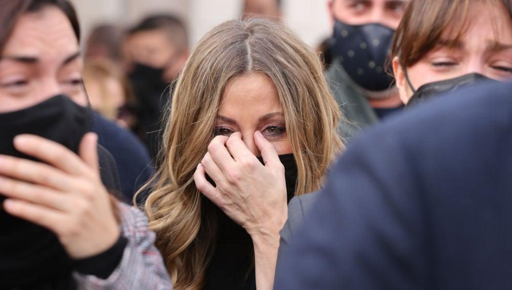 Verónica Romero en el funeral de Álex Casademunt
