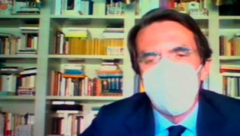 Captura de vídeo de la declaración del expresidente José María Aznar en la Audiencia Nacional Aznar.