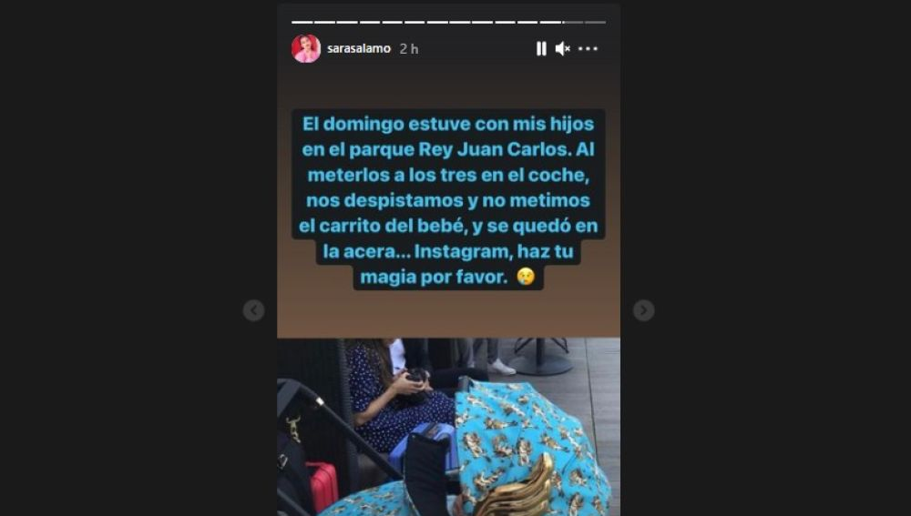 Sara Sálamo pidiendo a sus seguidores difusión para recuperar su carrito de bebé en Instagram