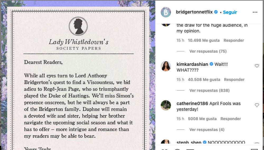 Kim Kardashian reaccion a la salida del duque de Hastings de 'Los Bridgerton'