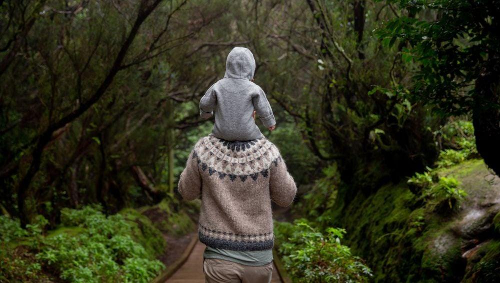 Un padre llevando su hijo a hombros