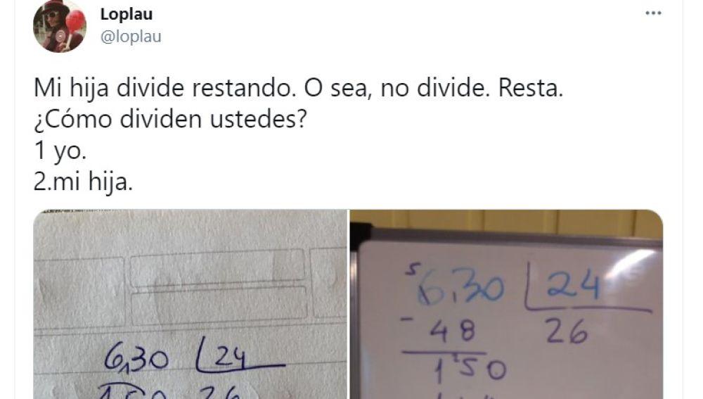 """""""Mi hija divide restando"""": la operación de matemáticas viral que hará que te estalle la cabeza"""